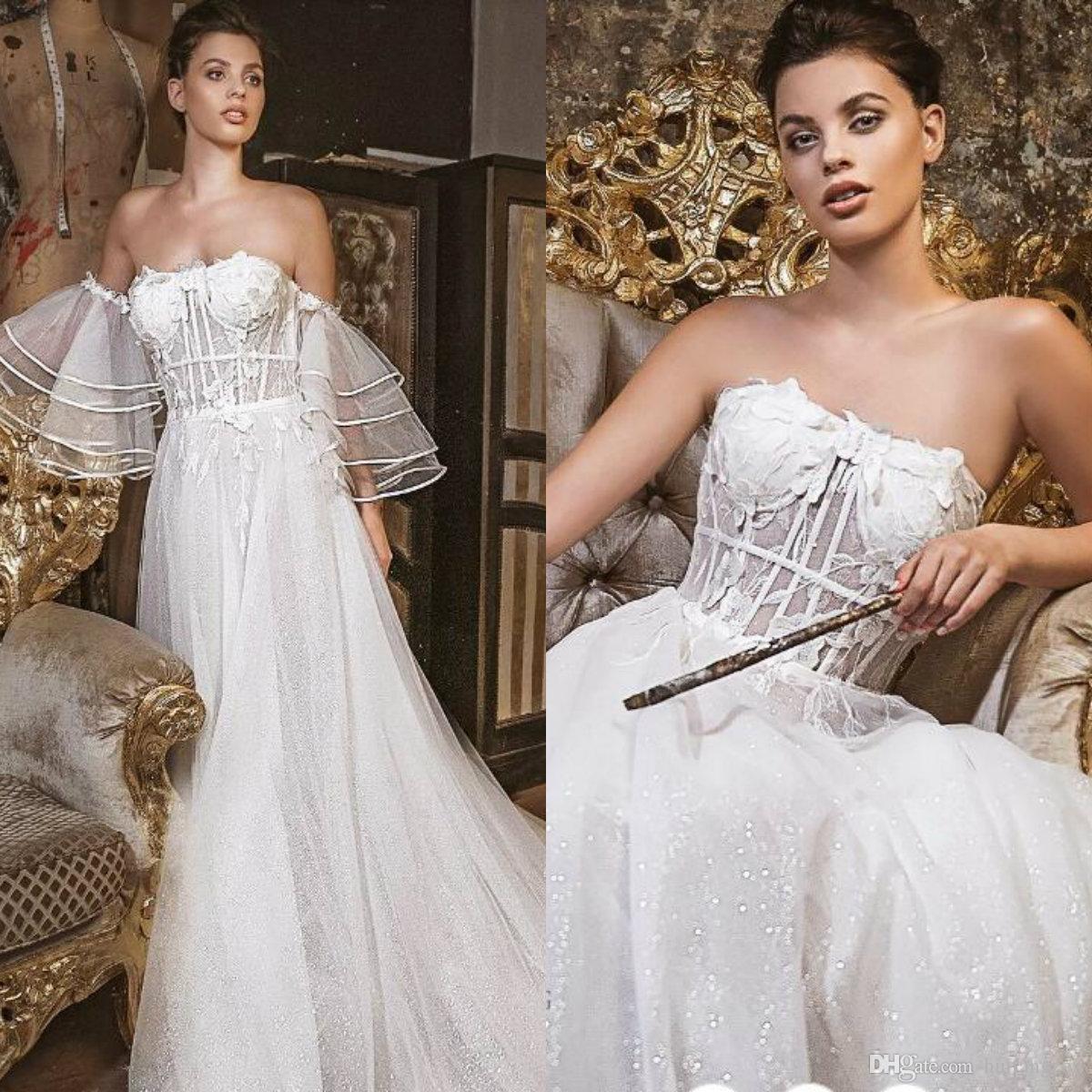 Discount Vintage Strapless Wedding Dresses 2019 Designer Lace