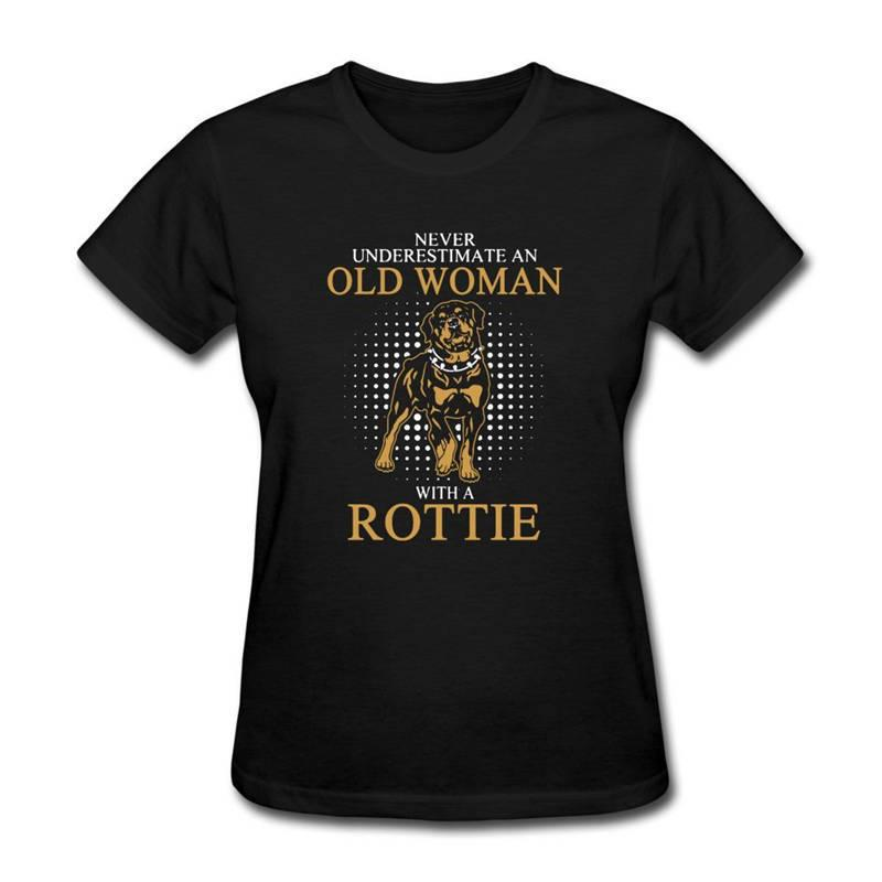 2018 Brand Clothing Tees Casual Short Women Underestimate An Old Woman Rottweiler O-Neck Fashion 2018 Tee Shirts