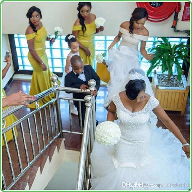 남아 프리 카 공화국 나이지리아 흑인 소녀 인 어 공주 웨딩 드레스 파란색 된 스 퀴 우는 스윕 기차 Backless 웨딩 드레스 아랍어 신부 웨딩 드레스