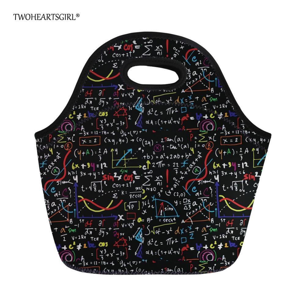 Twoheartsgirl Neoprene Lunch Bags for Women Black Math Formula Tote Bag  Kids Girls Insulated Thermal Lunch Box Storage Bag