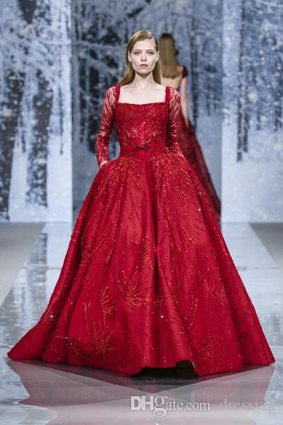 8c9abece16f 2018 Ziad Nakad Prom Dresses Luxury Beaded Sequins Square Neck Red Long  Sleeve Evening Gowns Formal Dress Party Evening Wear Top Fabric Dress Long  Fishtail ...