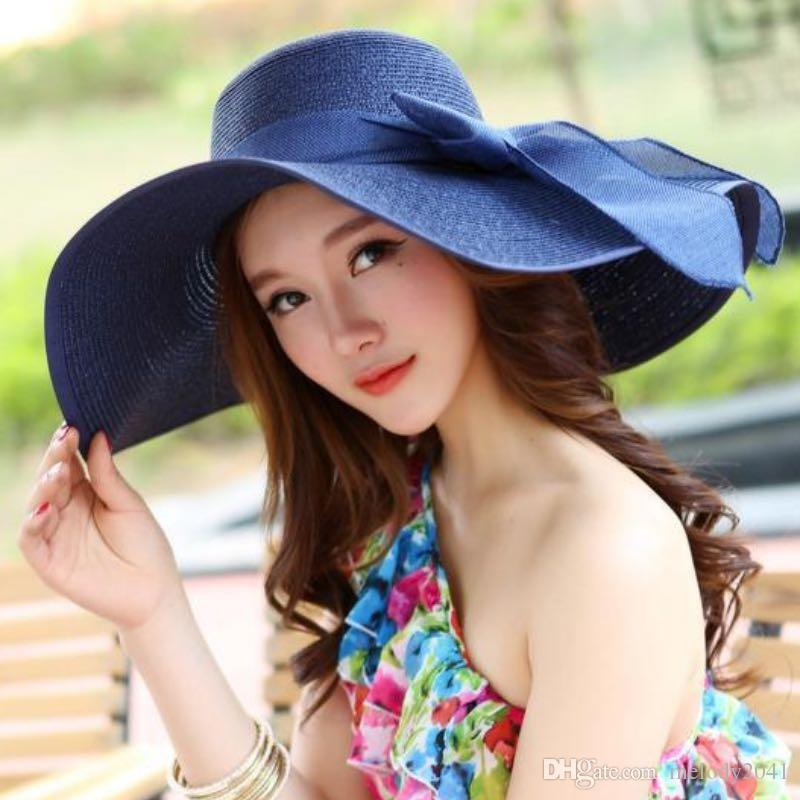 31aaad7a Summer Women Wide Brim Hats Sunshade Straw Hat With Bow Sunscreen ...