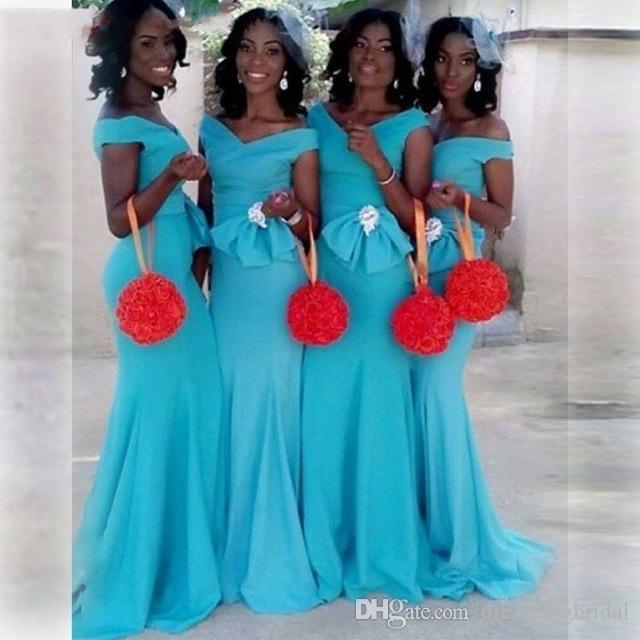 Turquoise Mermaid Long Bridesmaid Dresses 2018 Bow Ruched Off The