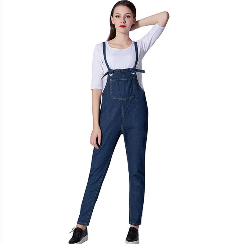 2017 New Women Washed Jeans Denim Casual Hole Loose Jumpsuit Romper Overall Bib Pants Bottoms Jeans