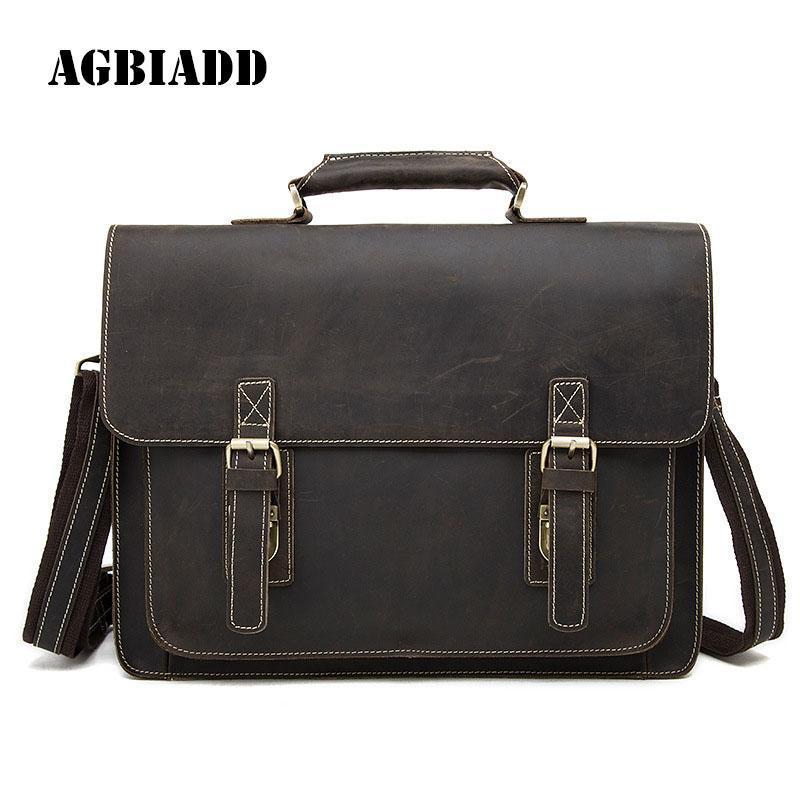 057c098fa AGBIADD Genuine Leather Briefcase Crazy Horse Men Messenger Bags ...