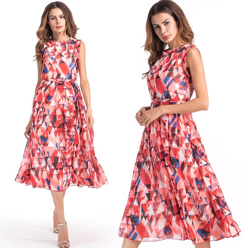 Fashion Dresses For Ladies With Chiffon Print Design Sleeveless
