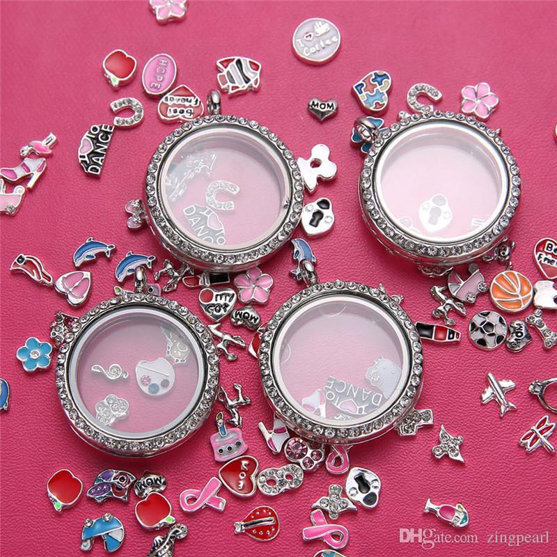 Unico 30mm Vite rotonda galleggiante medaglioni di fascino lega di cristallo magnetico memoria vivente medaglione pendente apribile gioielli fai da te