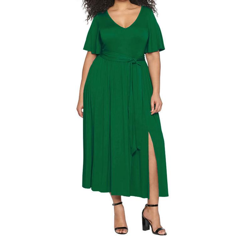 af040a55fac Sexy Split Plus Size XXXL Long Maxi Dress Women Summer Flare Sleeve V Neck  Loose Casual Dresses Solid Sundress Big Girls GV565 Party Dress White Black  Women ...