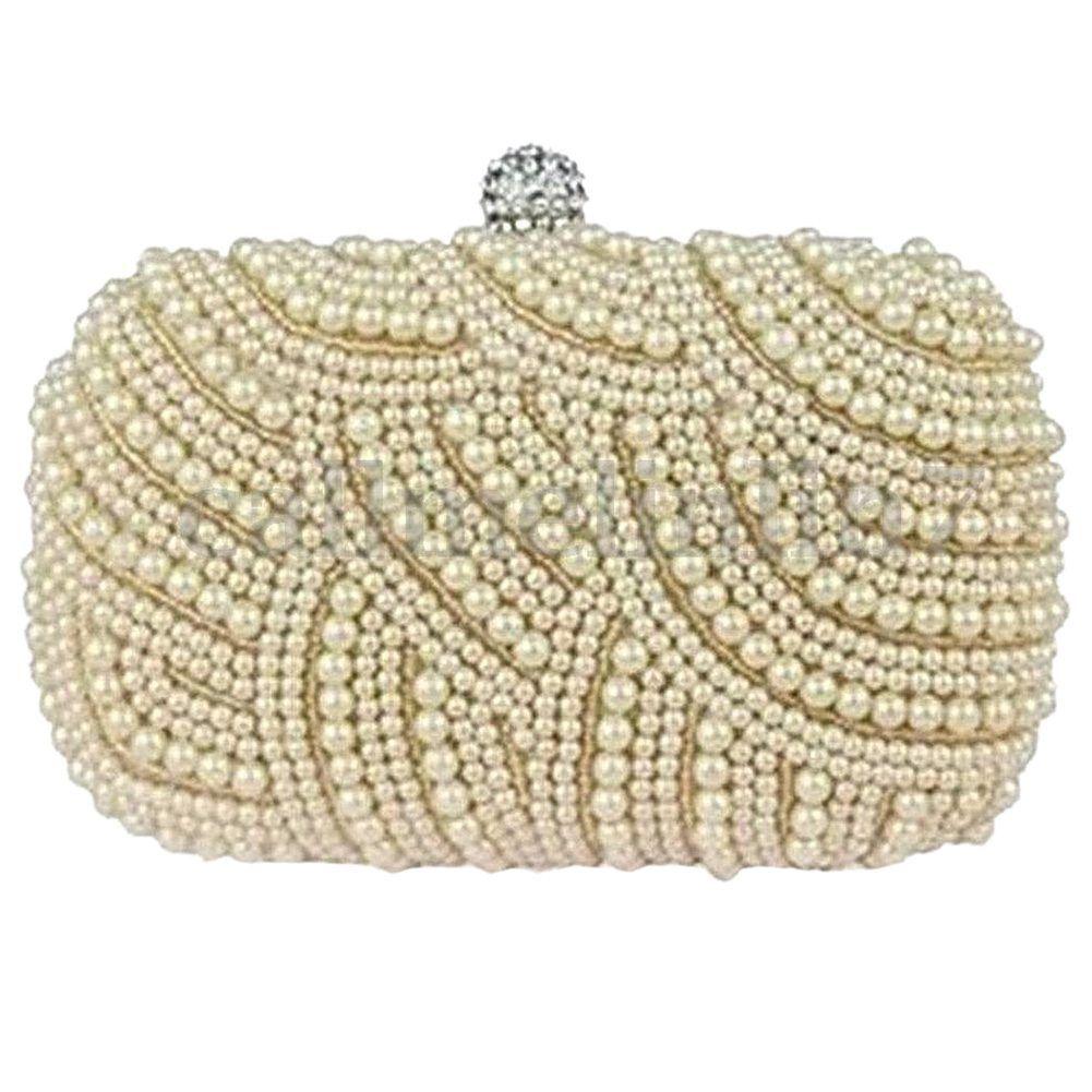 1e046788efb5b Ladies Beaded Party Prom Bridal Clutch Bag Purse Wedding Evening Handbag,  cream color