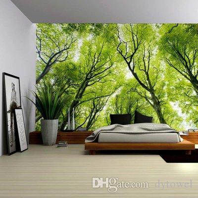 Landscape Forest Trees Fabric Wall Hanging Tapestry Decor Polyester  Curtains Plus Long Table Cover Picnic Cloth Carpet Home Decoration 2018  Tapestries On ...