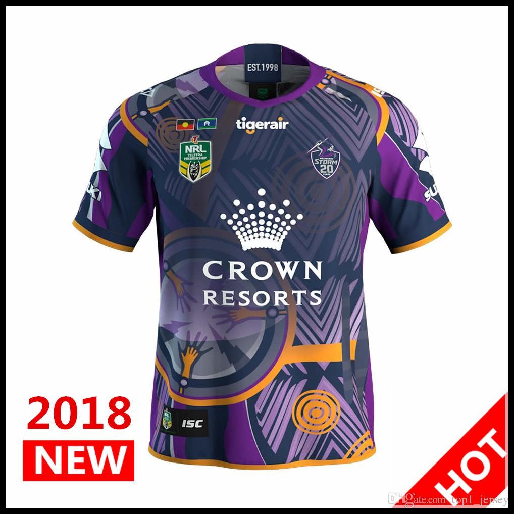 33e5946fcf Compre Hot Vendas 2018 2019 Tempestade De Melbourne Indigeno Rugby Jerseys  Nrl Nacional Camisa Rugby League Nrl Jersey Melbourne Storm Camisas S 3xl  De ...