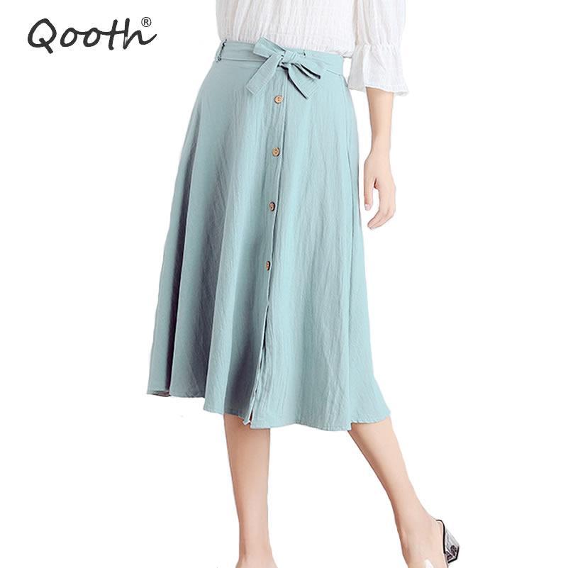 Plissé Jupes Chic Taille Tutu Qooth Femmes Jupe Coton Acheter Haute 7gYb6fy