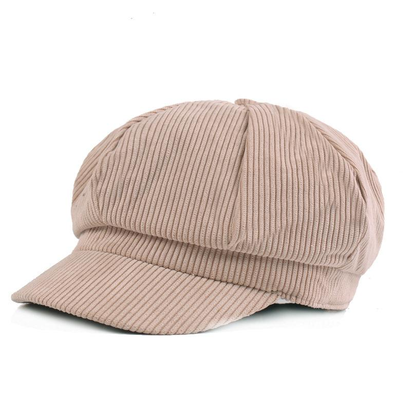 4cc8bee4c02 2019 Elegant Corduroy Cabbie Hat Women S Newsboy Caps With Elastic Back  Dusty Pink Black Beige Camel Autumn Winter From Spectalin