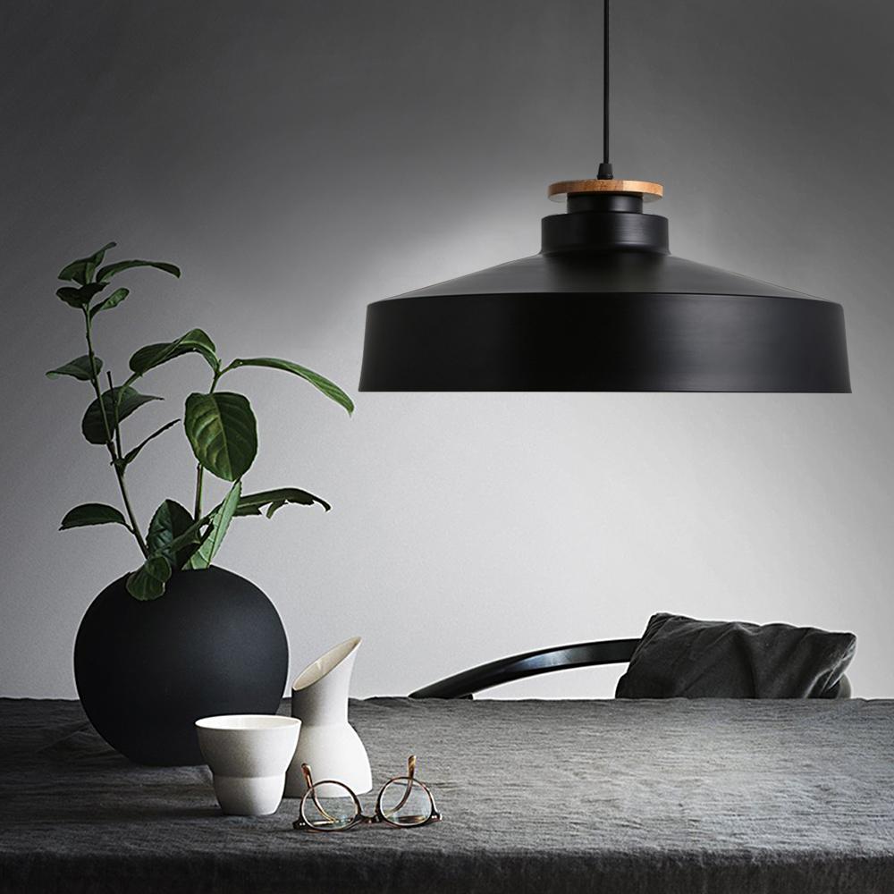 Modern Pendant Light Wood Light Aluminium Lampshade Nordic Style