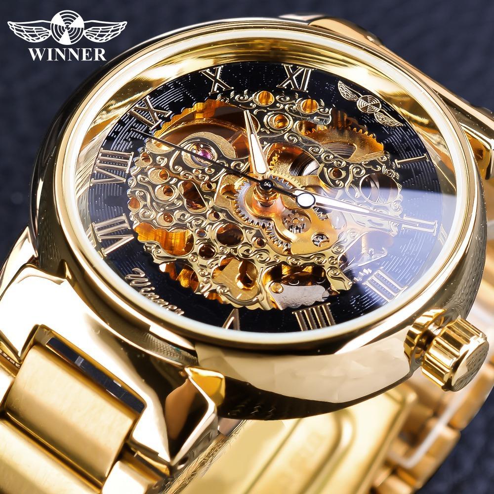 fb53d0c6a73 Compre Vencedor Do Relógio Retro Romano Esqueleto De Ouro Relógio Mecânico  Para Homens Mãos Luminosas Relogio Vencedor Aço Inoxidável Relógio  Transparente ...