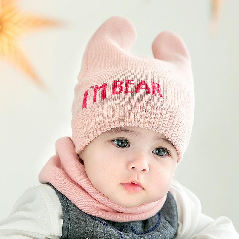 66e25337d4ddfc 4 Colors Cute Newborn Baby Beanies Hat Scarves - Bear Knitted Warm Hat Scarf  Set - Infant Cap Protects Ear Baby Winter Caps + Scarf