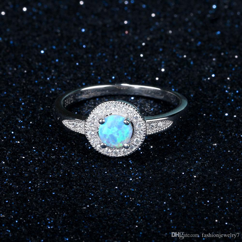 fashion new design big round blue opal gem 925 sterling silver ring high-end jewelry for lady girls Valentine's Day present gifts