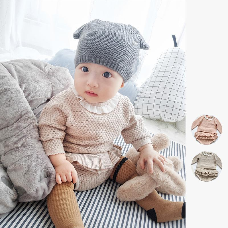 66f53708ee05 2019 Two Girls Suit Knit 0 2 Year Old Cotton Baby Long Sleeve Blouse ...
