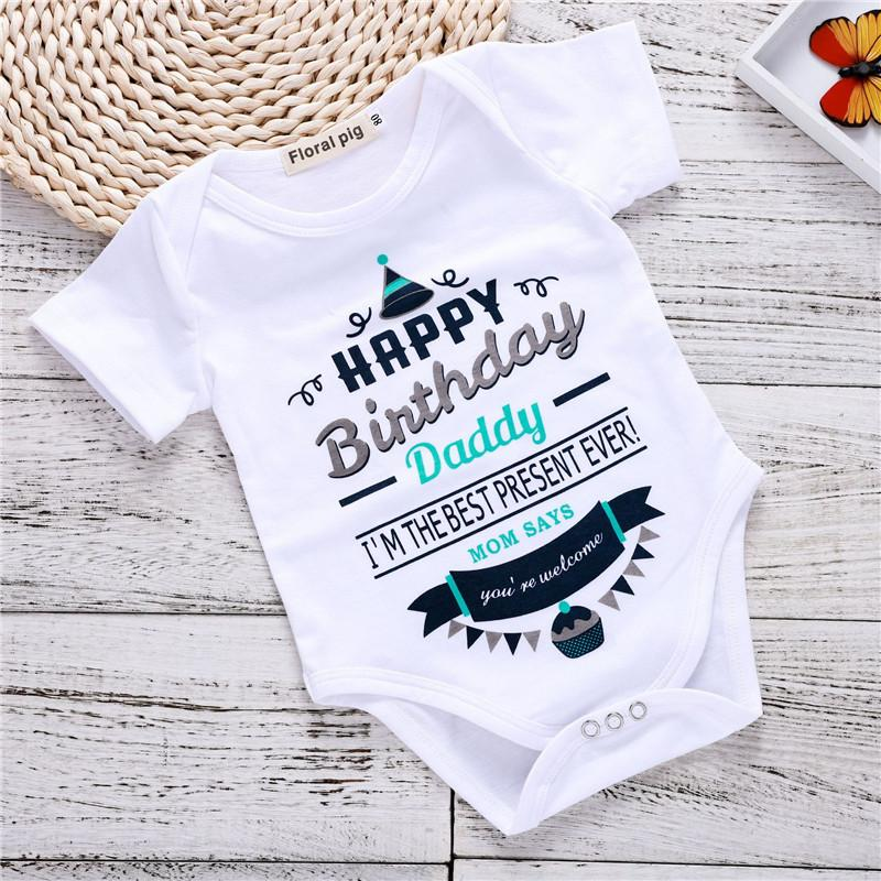 daf2229cc592e Baby Romper Letter Birthday Happy Printed Round Neck Short-sleeved Romper  Summer Boys Girls One-pieces Jumpsuits Bodysuit Free Shipping T84