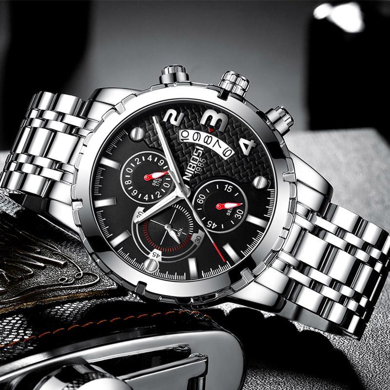 01364127dfd Compre Relógios NIBOSI Relógio Homens Relógio Esporte Relógio De Quartzo De  Aço Inoxidável À Prova D  Água Homens De Luxo Relógios Luminosos 2018 Marca  De ...