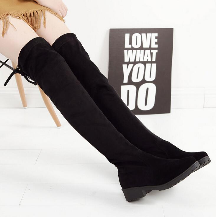 67c120f26c2 2018 Women Shoes New Over The Knee Thigh High Black Boots Women Motorcycle  Flats Long Boots Low Heel Suede Leather Shoes Boots Uk Winter Boots From  Bestname ...