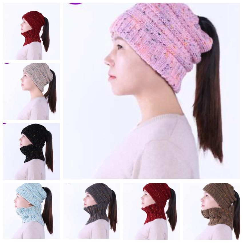 Cc Knit Beanies Scarf Women S Hat Caps Knitted Warm Ring Scarf Ponytail Hats  Collar Scarf Winter Warm Crochet Cap Ljjk1086 Trucker Hats Winter Hats From  ... 1a01dc4abfe