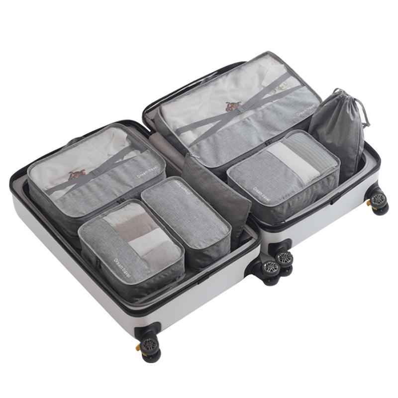 e6a858f01b75 7Pcs/Set Packing Cubes Travel Luggage Organizer Waterproof Compression  Large Shoes Suitcase Mesh Cube Set Travel Organizers 330