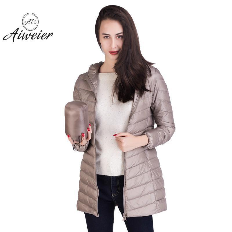 buy online e2c87 8f9c5 [Aiweier] Nuove donne ultraleggeri piumini con cappuccio cerniera lunga  giacche di nylon bianco piumino d oca cappotti invernali per le ragazze  AL2105 ...