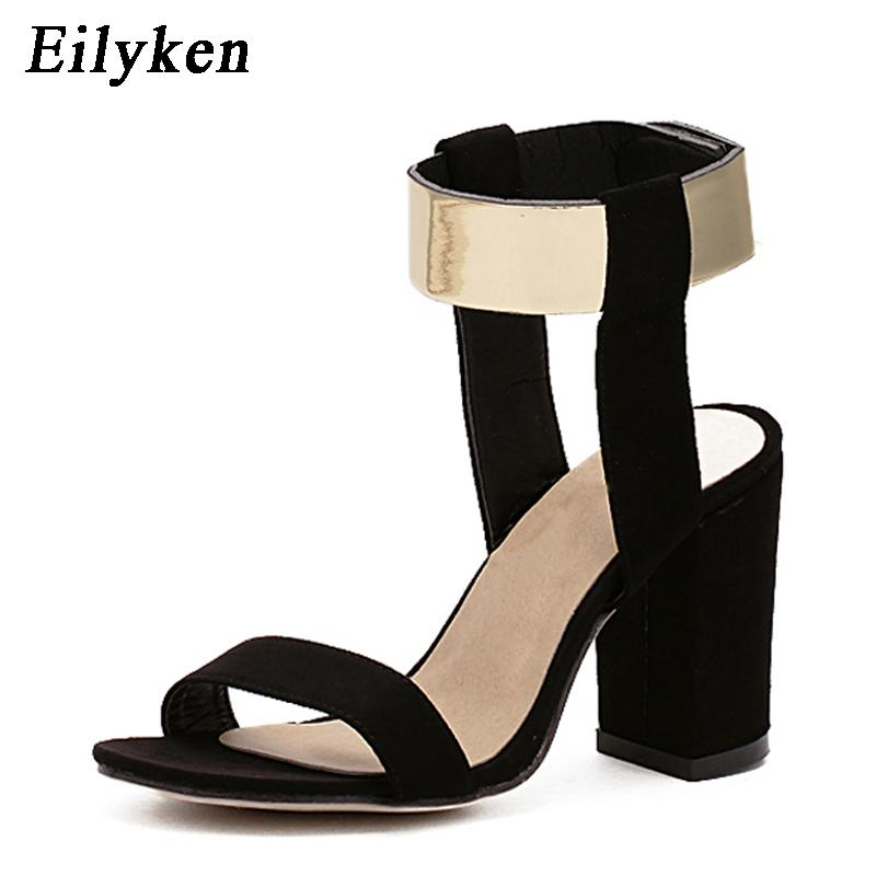 8cee8c14610 Eilyken Women Summer Rome Sandals Open Toe Ankle Strap Chunky Block High  Heels Work Office Lady Career Shoes Pumps Size 35 40 Silver Wedges Brown  Wedges ...