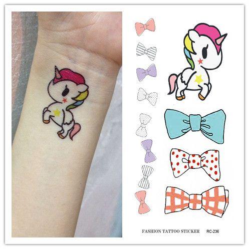 Waterproof Temporary Tattoo Sticker On Body Unicorn Horned Horse Bow