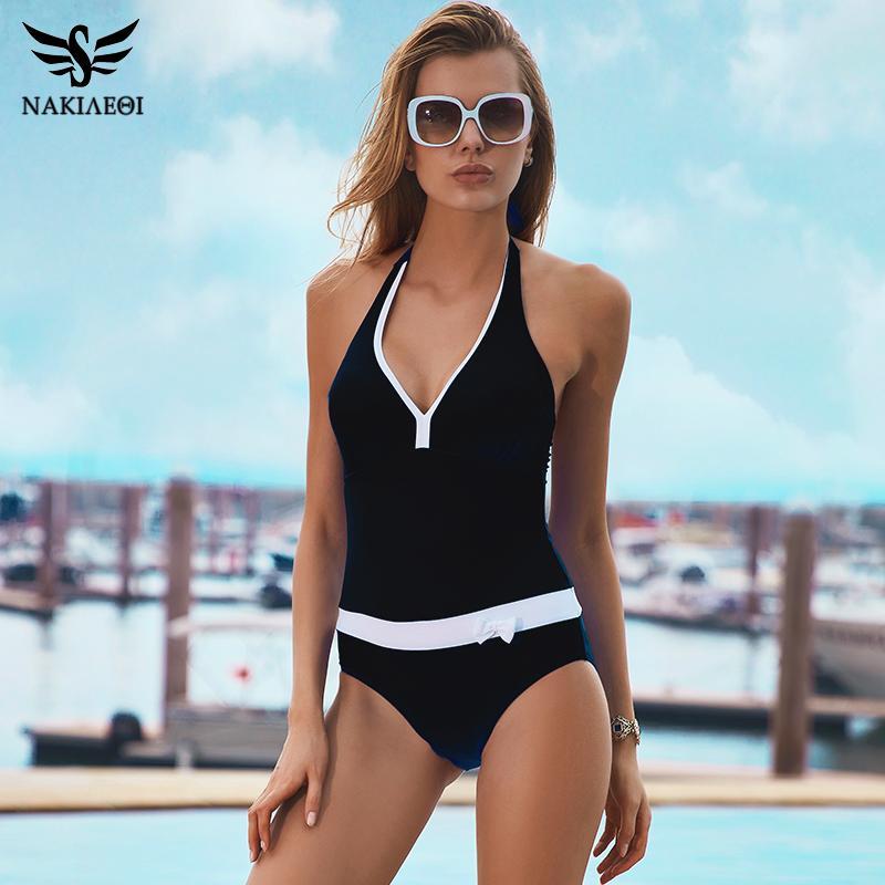 4cb14a9e9e705 2019 NAKIAEOI 2017 New One Piece Swimsuit Women Vintage Bathing Suits  Halter Plus Size Swimwear Sexy Monokini Summer Beach Wear Swim From  Caesarl