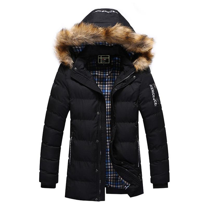 the best attitude 64803 33715 Winter Frühling Parka Jacke Männer verdicken Warm Pelzkragen mit Kapuze  gepolsterten Mantel männlichen Casual Black Zipper Jacken Outwear