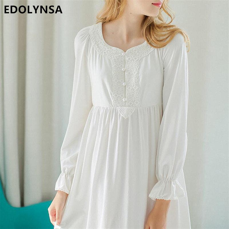 2ef6e31493 2019 Autumn Pink Sexy Long Sleep Lounge Cotton Sleepwear Female Home Dress  Lace Princess Vintage Nightgown Women Sleeping Dress  L8 From  Qualityclothes