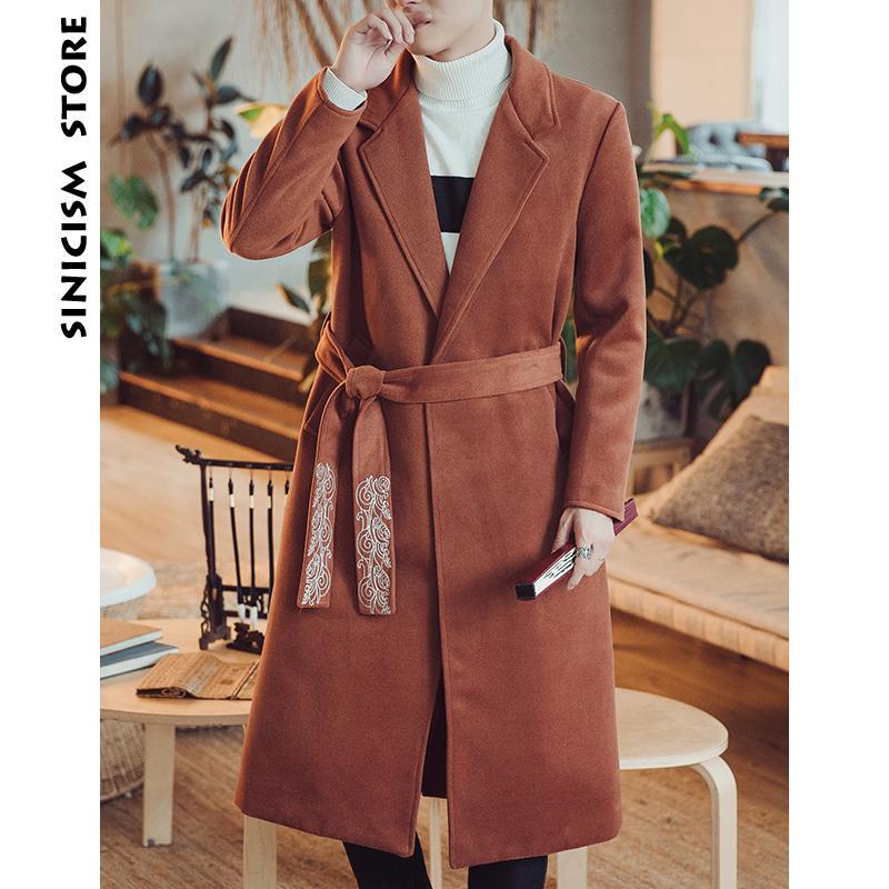 2019 Sinicism Store Wool Coat Men 2018 Mens Embroidery Belt Winter