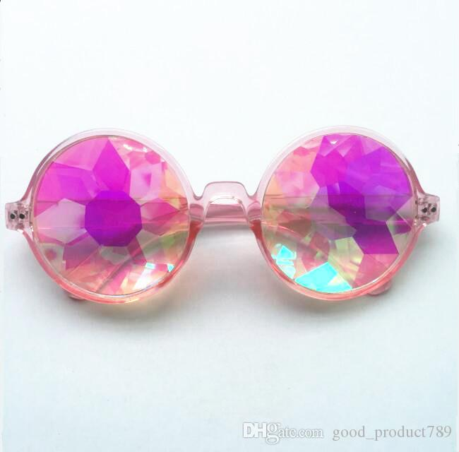 WOMEN Fashion Geometric Kaleidoscope Glasses Rainbow Rave Lens Bling Bling Prism Crystal Party Diffraction Sunglasses KK6662108