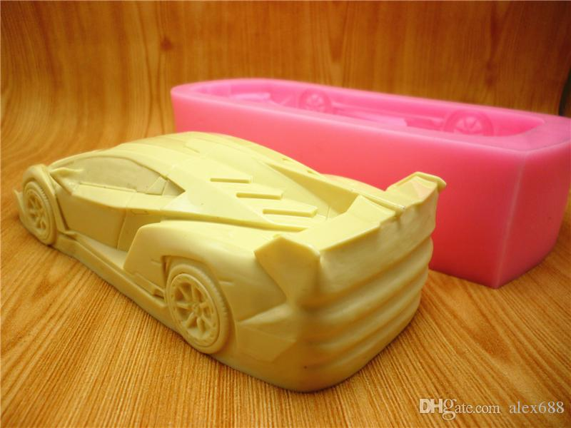 3D green sports car cake mold silicone mold chocolate gypsum candle soap candy mold kitchen baking