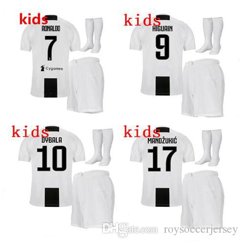 lowest price fc44c 7be74 2019 Juventus Soccer Jersey 18 19 RONALDO 7 DYBALA Kids Soccer Set EMRE CAN  MANDZUKIC PJANIC HIGUAIN D.COSTA MATUIDI youth football uniforms