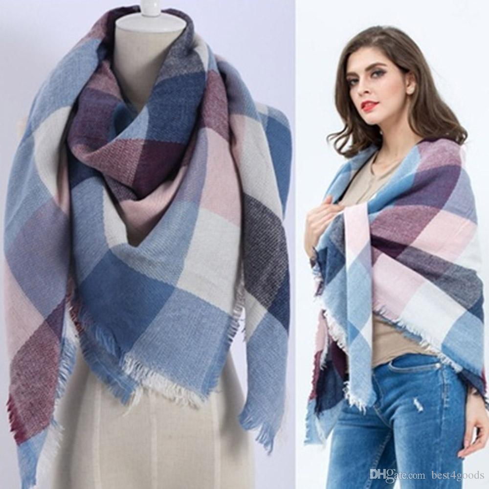 f4c5e73229a4b Lady Women Fashion Blanket Scarf Tartan Winter Scarf Wrap Shawl Plaid Cozy  Checked Pashmina Cashmere Scarf Acrylic Basic Shawls Scarves Shawl From ...