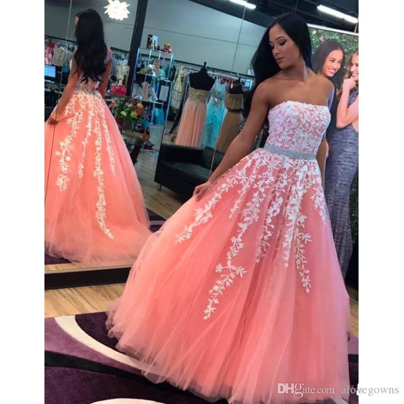 4459596b1bb7 2019 Strapless Sweet 16 Dresses Lace Appliques Tulle Quinceanera Dresses  Pink Vestidos De Quinceanera Custom Made Quinceanera Mom Dresses Royal Blue  ...