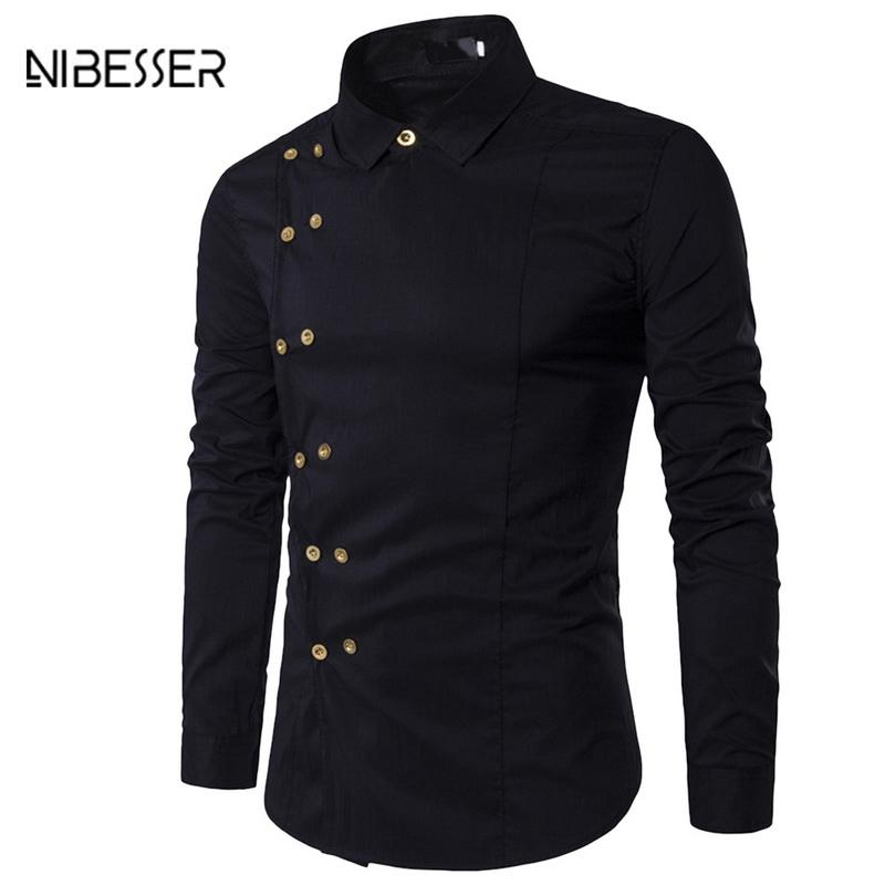 NIBESSER 2018 NEW Slim Fit Male Shirt Men Long Sleeve Shirt Solid Solid British Style Men's Brand Men Clothing