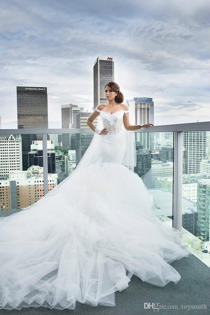 Бесплатная доставка Vintage Tulle с плечо свадебные платья с длинным рукавом кружевные аппликации русалка свадебное свадебное платье на заказ
