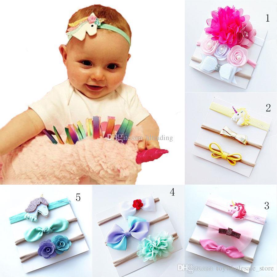 INS Baby Girls Unicorn Rainbow Headband Set Xmas Kids Flower Hair Bows  Children Hair Band Rabbit Ears Hair Accessories Set C4894 Navy Flower Hair  ... 35925f02acc