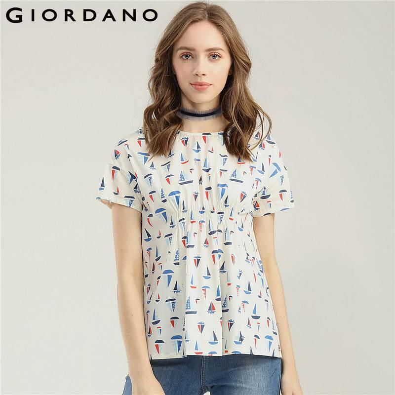 Giordano Women Shirt Printed Pattern Short Sleeves Tops Women Crewneck  Fashion Blouse 2018 Summer Clothing Arment UK 2019 From Rykeri a543e228be4a