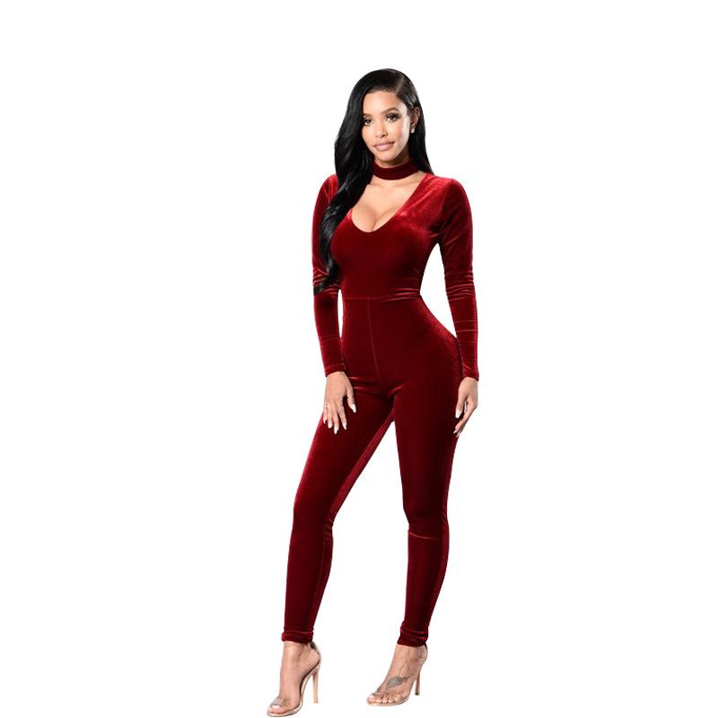 8303d919342 2019 V Neck Halter Skinny Velvet Jumpsuit Women Spring Long Sleeve Casual  Jumpsuit Sexy Sheath Women Party Clothing From Erzhang