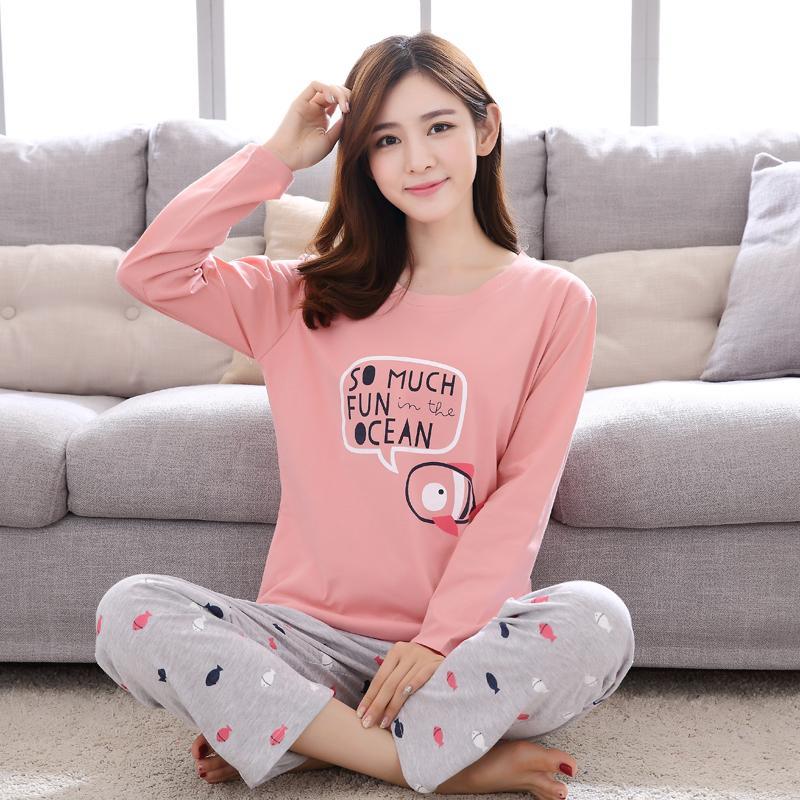cb2e303bc9 Women s Long-sleeved Pyjamas Autumn Cotton Cartoon Ladies Sleepwear ...