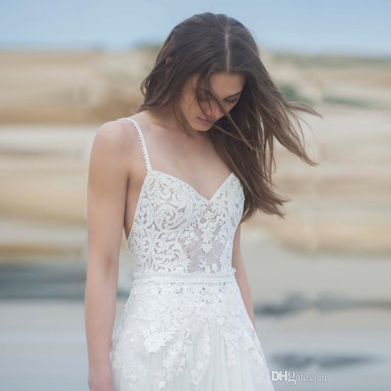 Two Pieces Wedding Dresses Summer Beach Sexy Spaghetti Lace Applique Bridal Gowns Beaded Backless Tulle Wedding Dress With Jacket