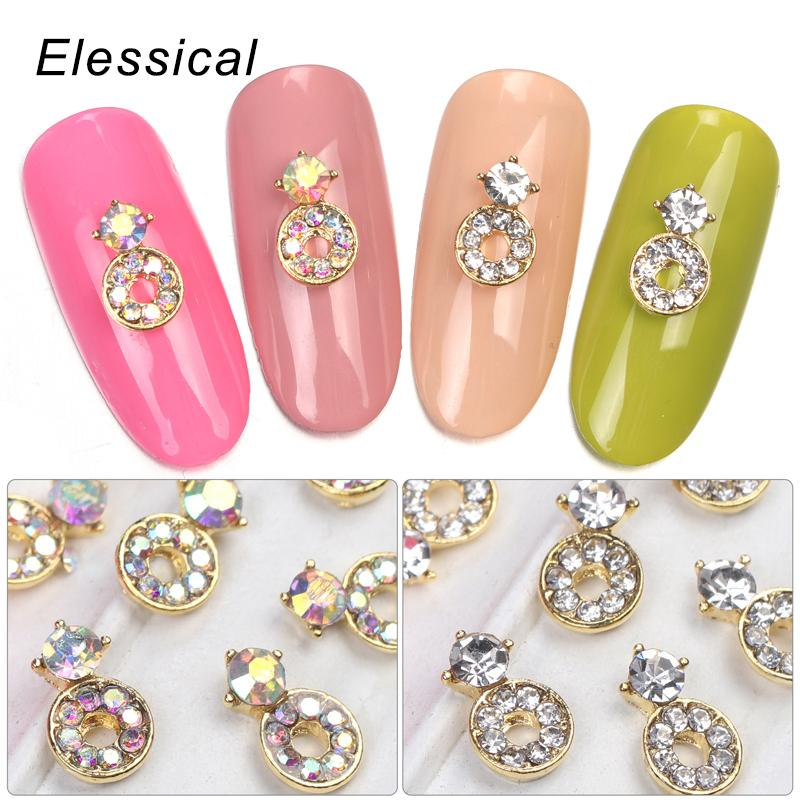 ELESSICAL Circle Alloy Nail Charms Glitter DIY Manicure Jewelry ...