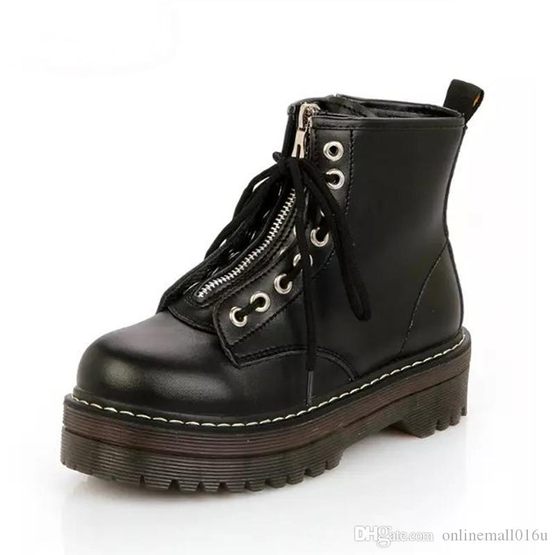 Compre Zapatos Planos Con Cremallera De Moda Mujer Plataforma De Tacón Alto  Botas De Cuero De PU Con Cordones Zapatos De Músculo De La Vaca Martin Boots  ... 1b11f4730775