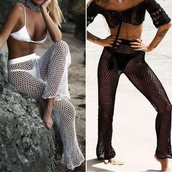 0e8f4b5dde 2019 Knitted Hollow Out Beach Fishing Net Pants Women Hand Crochet Beach  Long Sunscreen Trousers Sexy Bikini Swimsuit From Momomi, $12.07 |  DHgate.Com
