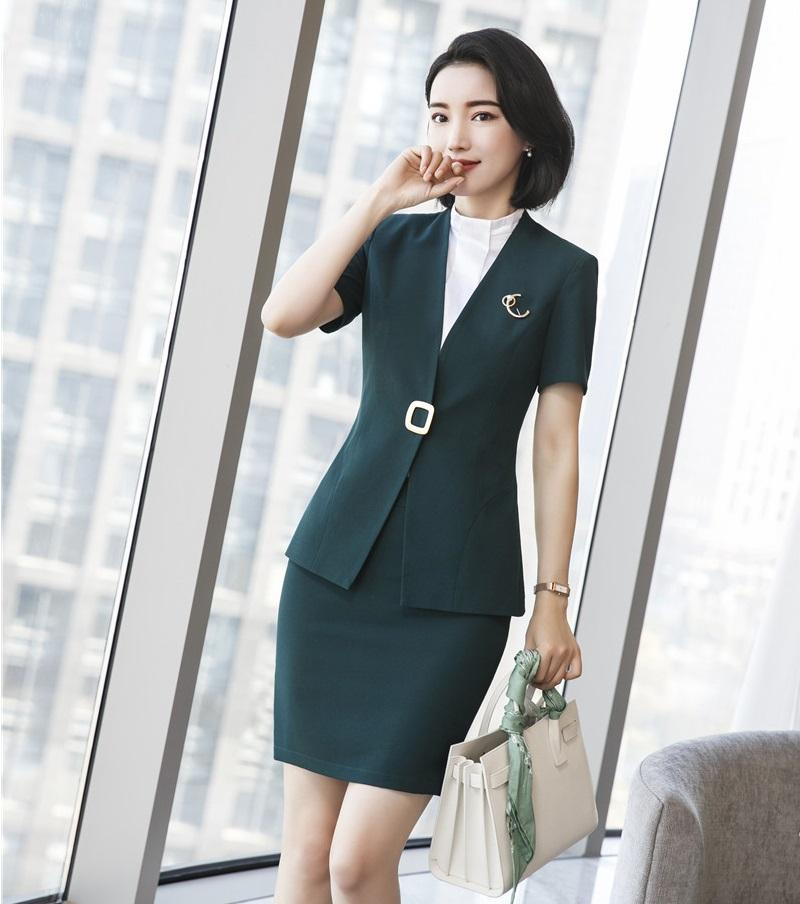 2019 Fashion Female Skirt Suits For Women Business Suits Green